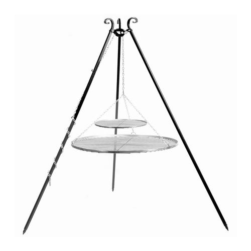 Schwenkgrill 180 cm - Doppelrost aus Edelstahl 70 cm + 40 cm